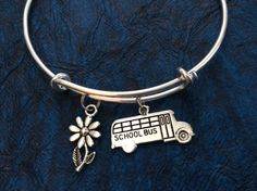 School Bus Driver Charm on a Silver Expandable Adjustable Bangle