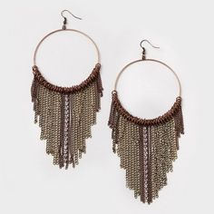 Chain Fringe Hoop Earrings | Claire's