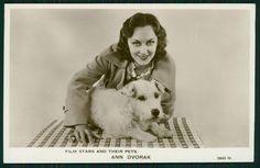 Ann Dvorak Movie Star with Sealyham Terrier Dog old c1920-1950s photo postcard
