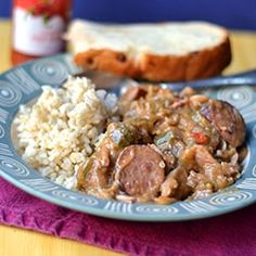 Gumbo with smoked chicken and beef sausage