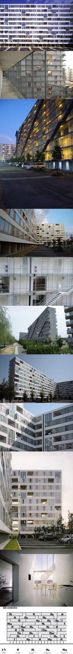 1994-2000 Sejima - Gifu Kitagata Apartments / white / steel concrete / minimalism / Japan / Sanaa / Kazuyo Sejima / social housing