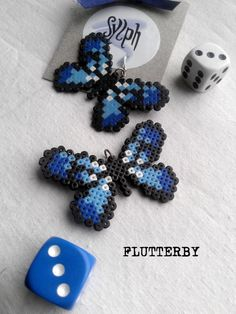 Earrings made of Hama Mini Beads: Flutterby (blue) by SylphDesigns