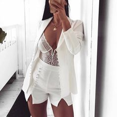 Cryptographic deep V fashion lace sexy bodysuit women patchwork mesh transparent female jumpsuit slim body mujer hot catsuit Bodysuit Fashion, Womens Bodysuit, Lace Bodysuit, Bodysuit Shorts, Black Women Fashion, White Fashion, Womens Fashion, Luxury Fashion, Sexy Fashion Style