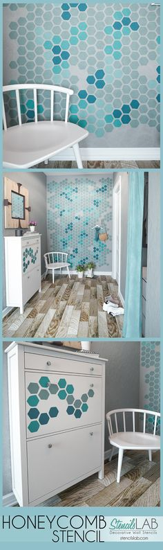 HONEYCOMB wall stencil is perfect for contemporary decor . This allover Honeycomb Stencil is universal pattern stencil and will be a perfect for a hallways wall painting, kids room or even for any walls and floors!
