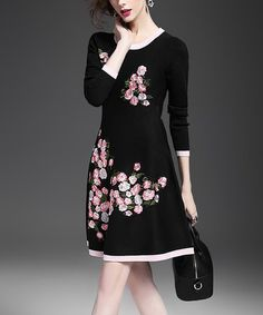 Look what I found on #zulily! Black Floral A-Line Dress #zulilyfinds