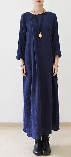 Navy oversize long sleeve linen dress plus size linen maxi dresses caftans