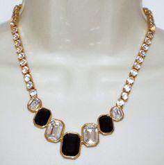 Vintage MONET clear black glass rhinestone NECKLACE costume jewelry Runway  #Monet #couturerunway