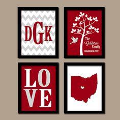 ★OHIO Custom Family College School Graduation University State LOVE Bird Tree Wedding Date Set of 4 Prints Wall Art    ★Includes 4 unframed prints