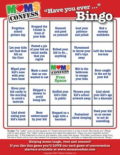 """Moms Confess """"Have you ever..."""" BINGO game. A fun party game for baby showers, moms' club meetings, moms' night out and moms' night in events. Visit our website, join our email list to access the free high quality printable. A fun ice breaker and conversation starter!"""