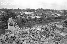https://flic.kr/p/6F2YFs | BE045776 | 27 Apr 1968, Hue, Vietnam --- 4/27/1968-Hue, Vietnam: Vietnam War. Debris from Hue's bomb and shell-damaged buildings frames a small bridge over a tributary of the Perfume River. --- Image by © Bettmann/CORBIS
