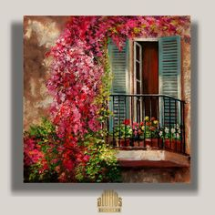 YARY DLUHOS Balcony Bougainvillea Window Flower Original Modern Art Oil Painting in Art, Direct from the Artist, Paintings Small Canvas Paintings, Small Canvas Art, Diy Canvas Art, Acrylic Painting Canvas, Bird Canvas, Flower Canvas, Landscape Art, Landscape Paintings, Landscape Edging