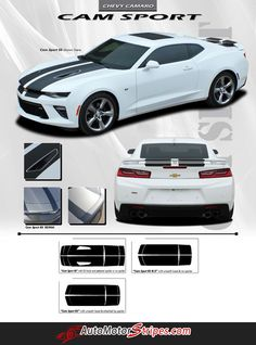 2016 2017 Chevy Camaro Cam-Sport OEM Factory Style Hood Rally Decals 3M Racing Stripes Kit fits SS RS V6