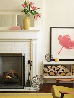 Put Mirror above fireplace and wood to the side Birch   Bird Vintage Home Interiors » Blog Archive » Artistic License: Colourful Art