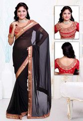 Black Color Georgette Festival & Function Wear Sarees : Navnita Collection  YF-41521