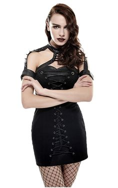 The beautiful Blitzkreig dress look amazing on, and features corset style lacing which runs down the full length of the dress front. A gorgeous leather blend collar, and spiked arm cuffs, with further corset style lacing completes the look.