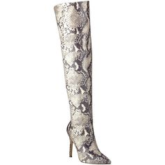 GUESS Naddy Over-the-Knee Boots ($80) ❤ liked on Polyvore featuring shoes, boots, over-the-knee boots, over knee boots, snakeskin boots, back zip boots, patent leather boots and back zipper boots