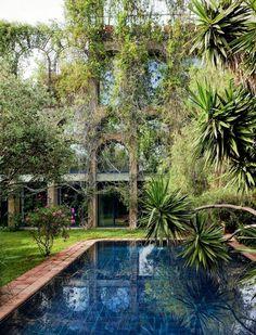 piscina com paisagismo