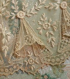 Antique French Tulle Swag Lace Trim with Raised Flower Pattern