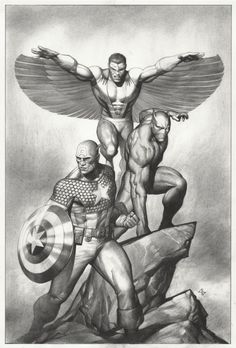 Captain America, Black Panther, and the Falcon by Adi Granov Comic Book Artists, Comic Book Characters, Comic Book Heroes, Comic Artist, Marvel Characters, Comic Character, Comic Books Art, Marvel Art, Marvel Comics