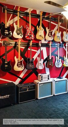 Guitar Hanger Home Use Guitar Hanger, Guitar Rack, Cool Guitar, Guitar Storage, Guitar Display, Showroom Design, Guitar Collection, Gel Designs, Slat Wall
