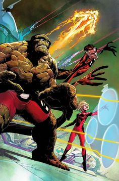 Marvel Comic's FANTASTIC FOUR get a new No. 1 and some new uniforms, this time with red as the base color instead of blue. If I remember my color wheel correctly, that's basically the opposite of each other, yeah? Comic Book Characters, Comic Book Heroes, Marvel Characters, Comic Character, Comic Books Art, Book Art, Marvel Comics Art, Marvel Heroes, Anime Comics