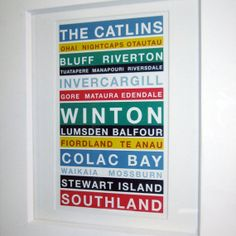 Southland Print - A4 with Mattboard, wall art, typography, modern bus blind on Etsy, $21.93 CAD All Print, Typography, Rock Art, Blind, Handmade Gifts, A4, Cards, Prints, Wall Art