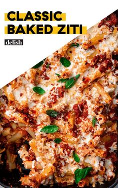 This Perfect Baked Ziti Is The Ultimate Pasta DinnerDelish Entree Recipes, Pasta Recipes, Dog Food Recipes, Dinner Recipes, Cooking Recipes, Antipasto Recipes, Hamburger Recipes, Pork Recipes, Appetizer Recipes