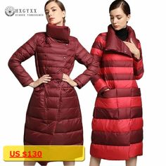 2017 Reversible Wear Luxury Women Down Jacket Winter Goose Feather Coat Turn-down Collar Long Down Parka Warm Outwear Okb280