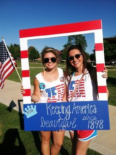 Zeta keeping America beautiful on Bid Day. Shake it like a Polaroid Picture!! Great Bid Day Idea! #GTTR