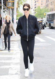 On Aldridge: Alexander Wang Net and Shell Bomber Jacket ($950); Givenchy Bow Cut Shoulder Bag ($1390) in Black Leather; Paige Keegan Belt ($299) in Black; J Brand 8001 Leather Skinny Pants...