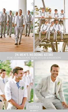 24 Men's Wedding Attire For Beach Celebration ❤ You have decided to do a beach wedding ceremony? Looking for men's wedding attire to be appropriate? See more: http://www.weddingforward.com/mens-wedding-attire/ #weddings #groom