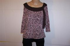 INC Shirt Top Large Stretchy Nylon Mesh 3/4 Sleeves Brown Pinks Tie Front Lined #INCInternationalConcepts #KnitTop #Casual