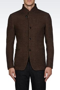 Armani Collezioni Men Three Buttons Jacket - DECONSTRUCTED WOVEN JERSEY JACKET WITH MANDARIN COLLAR Armani Collezioni Official Online Store