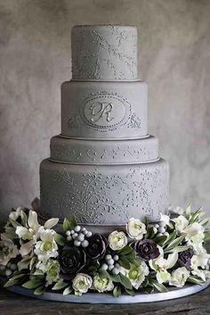30 Silver Sage Wedding Ideas � silver sage wedding grey tall textured with flowers jacklyn greenberg photography #weddingforward #wedding #bride #weddingcake #silversagewedding