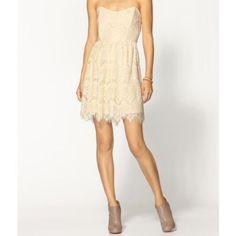 Hp! Cream Strapless Lace Dress