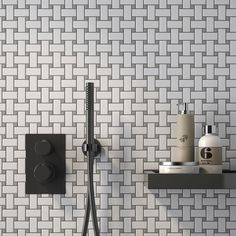 Porcelain Basket Weave With Grey Dot Mosaic Installed On Wall