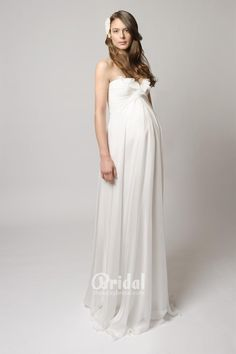 Strapless Ruched Chiffon Maternity Bridal Dress with Front Ruffle Neckline