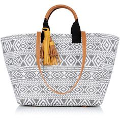OASIS SUMMER AZTEC SHOPPER (530.865 IDR) ❤ liked on Polyvore featuring bags, handbags, tote bags, multi, yellow handbag, yellow tote, summer beach tote, beach tote and special occasion handbags