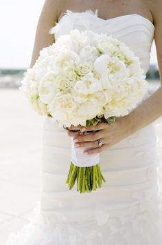 White wedding bouquet ~ peonies, roses and tulips!