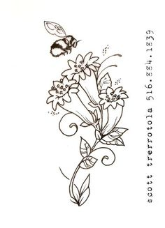 honeysuckles with bumble bee in Tattoo Designs by