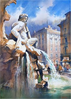 The Ganges - Fountain of the Four Rivers - Rome by Thomas W. Schaller Watercolor ~ 30 Inches x 22 Inches