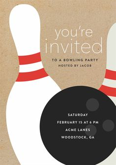 Bowling Party By Stacey Meacham Design Llc Greenvelope Com Bowling Party Invitations