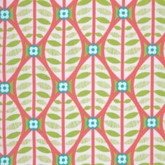 """$7.25 on sale, Erin McMorris - La Dee Da - Buttonwood in Coral. Quilting cotton, 44/45"""""""