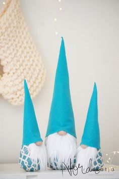 Excited to share the latest addition to my #etsy shop: Turquoise Gnome Set of 3 - Tomte , Nordic Gnome Scandinavian Tomte or Nisse