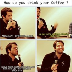 [SET OF GIFS] Misha convention panel.  YES!  Tea is awesome! (Please excuse the bad word)... Misha is so cute! :b