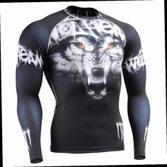 49.99$  Buy here - http://aliy6s.worldwells.pw/go.php?t=32621010076 - WOLF TEAM Technical Compression Shirt Workout Gym MMA Fitness Crossfit Yoga CFL-18 49.99$