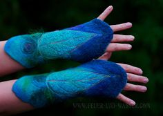 Felted Cuffs - Felted gloves - Arm warmers - Felt hand warmers  - in Morning Glory