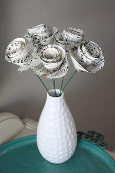 paper rose flowers. repurposed sheet music. large. set of 5. $10.00, via Etsy.