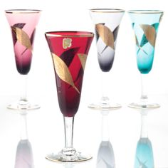4 Vintage Sektgläser Farbglas Buntglas Fantasy Goldrand Blatt Dekor Bunt W3C