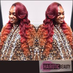 Traditional install (sewin) with hairotic inches (virginhair) custom colored haute like fire by @hairotic_beauty_